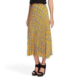 Vince Camuto Pleated Plaid Mustard Yellow Skirt